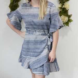 EXPRESS - Blue and White Striped Linen Wrap Dress
